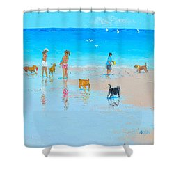 Dog Beach Day Shower Curtain