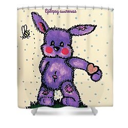 Epilepsy Awareness Bunny Shower Curtain by MaryLee Parker