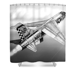 F-8e Crusader Drawing Shower Curtain by Douglas Castleman