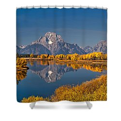 Fall Colors At Oxbow Bend In Grand Teton National Park Shower Curtain by Sam Antonio Photography