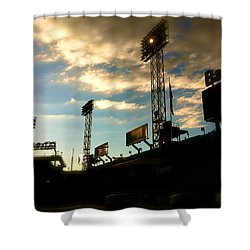 Shower Curtain featuring the photograph  Fenway Lights Fenway Park David Pucciarelli  by Iconic Images Art Gallery David Pucciarelli