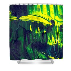 First Date - Green Abstract Mixed Media Painting Shower Curtain