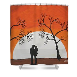 First Kiss Shower Curtain by Jeffrey Koss