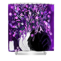 Flower Art Love Purple Flowers  Love Pink Flowers Shower Curtain