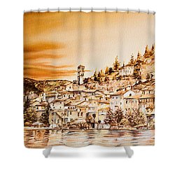 Golden Reflections Shower Curtain by Michel Angelo Rossi