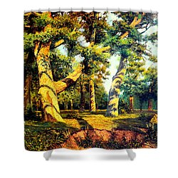 Shower Curtain featuring the painting   Green Summer-the Oak Forest by Henryk Gorecki