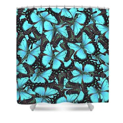 Green Swallowtail Butterfly Shower Curtain by Anastasy Yarmolovich