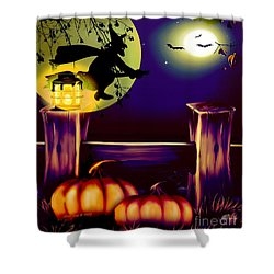 Halloween Witches Moon Bats And Pumpkins Shower Curtain by Annie Zeno