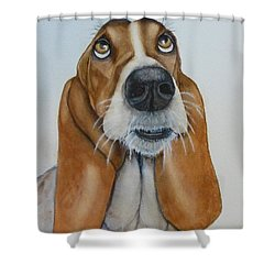 Hound Dog's Pleeease Shower Curtain by Kelly Mills