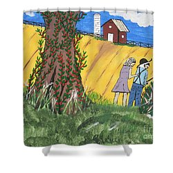 Shower Curtain featuring the painting  I Got A Big One. by Jeffrey Koss