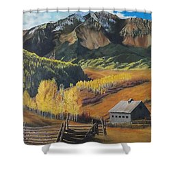 I Will Lift Up My Eyes To The Hills Autumn Nostalgia  Wilson Peak Colorado Shower Curtain
