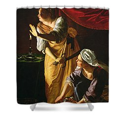 Judith And Maidservant With The Head Of Holofernes Shower Curtain by Artemisia Gentileschi