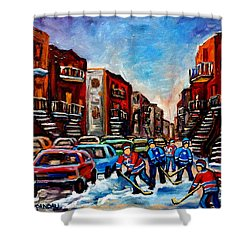 Late Afternoon Street Hockey Shower Curtain by Carole Spandau
