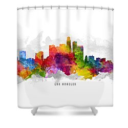 Los Angeles California Cityscape 13 Shower Curtain by Aged Pixel