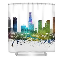 Los Angeles Cityscape 01 Shower Curtain by Aged Pixel