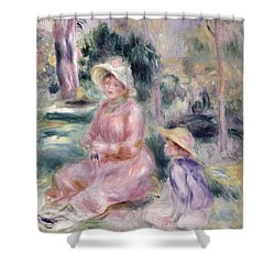 Madame Renoir And Her Son Pierre Shower Curtain by Pierre Auguste Renoir