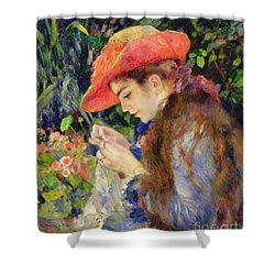 Marie Therese Durand Ruel Sewing Shower Curtain by Pierre Auguste Renoir