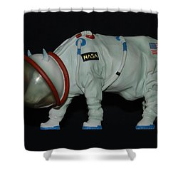 Maurice The Space Cow Boy Shower Curtain by Rob Hans