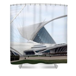 Shower Curtain featuring the photograph  Milwaukee Art Museum by Kay Novy