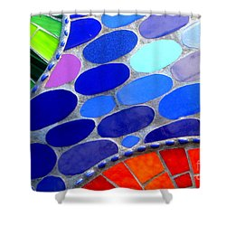 Mosaic Abstract Of The Blue Green Red Orange Stones Shower Curtain