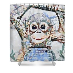 Monkey Rainbow Splattered Fragmented Blue Shower Curtain by Catherine Lott