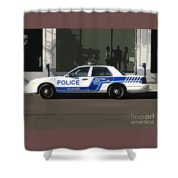 Montreal Police Car Poster Art Shower Curtain by Reb Frost