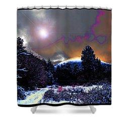 Moonrise On Kiva Mountain Shower Curtain