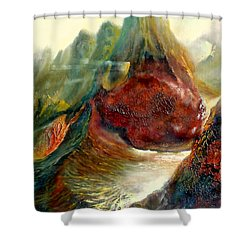 Shower Curtain featuring the painting  Mountains Fire by Henryk Gorecki
