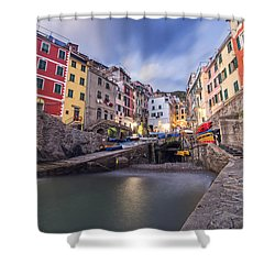 Shower Curtain featuring the photograph  Notte A Riomaggiore by Brad Scott