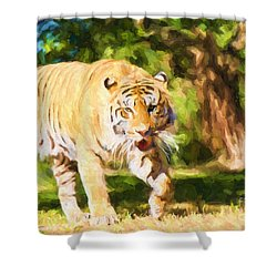 Shower Curtain featuring the painting  On The Prowl by Judy Kay