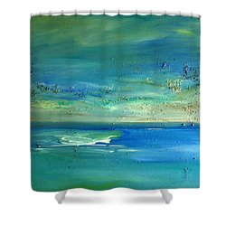 Shower Curtain featuring the painting  Pearls Of Tranquility Seascape 1 by Dolores  Deal