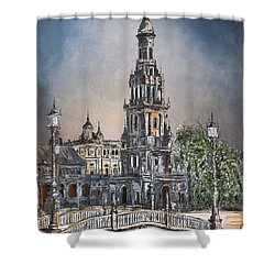 Plaza De Espana In Seville Shower Curtain