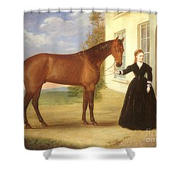 Portrait Of A Lady With Her Horse Shower Curtain by English School