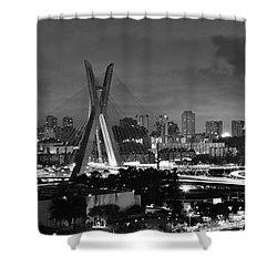Sao Paulo Iconic Skyline - Cable-stayed Bridge - Ponte Estaiada Shower Curtain