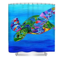 Abstract Mehndi Sea Turtle  Shower Curtain