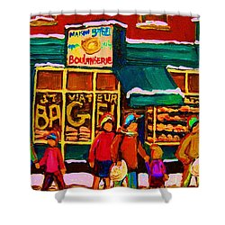 St. Viateur Bagel Family Bakery Shower Curtain by Carole Spandau