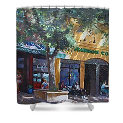 Starbucks Hangout Shower Curtain by Ylli Haruni
