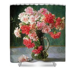 Still Life Of Carnations   Shower Curtain by Emile Vernon