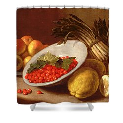 Still Life Of Raspberries Lemons And Asparagus  Shower Curtain by Italian School