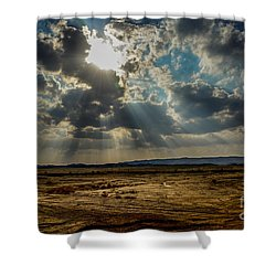 Stormy  Light Rays  Shower Curtain by Arik Baltinester