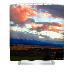 Sunset Clouds Over Spanish Peaks Shower Curtain