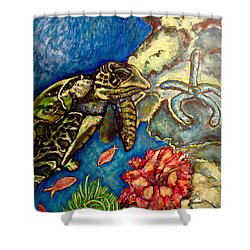 Shower Curtain featuring the painting  Sweet Mystery Of The Sea A Hawksbill Sea Turtle Coasting In The Coral Reefs Original by Kimberlee Baxter