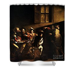 Shower Curtain featuring the painting  The Calling Of Saint Matthew by Caravaggio