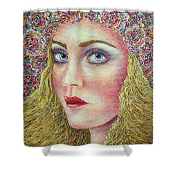 Shower Curtain featuring the painting   The Flower Girl by Natalie Holland