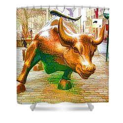 The Landmark Charging Bull In Lower Manhattan  Shower Curtain