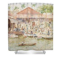 The Market Belize British Honduras Shower Curtain by Henry Scott Tuke