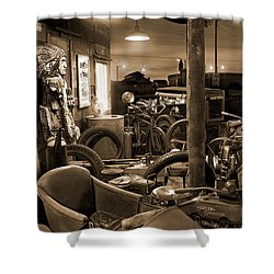 The Motorcycle Shop Shower Curtain