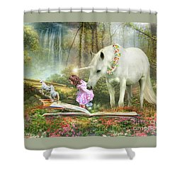 The Unicorn Book Of Magic Shower Curtain