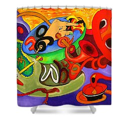 Time Constraints Shower Curtain by Helmut Rottler