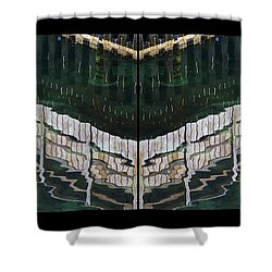 Shower Curtain featuring the photograph  Water Reflection Twofold by Heiko Koehrer-Wagner